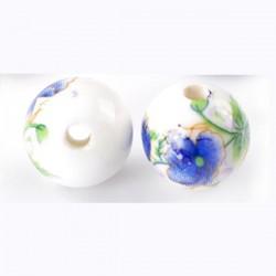 Perle en céramique décor  de fleurs bleu vert blanc 12 mm