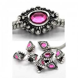Perle métal strass fushia style Pandora