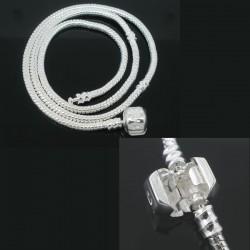 Collier style Pandora, argenté 40 cm