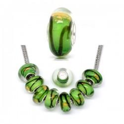 Perle en verre de style Pandora vert