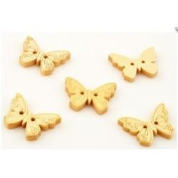5 Boutons papillon bois 2 trous