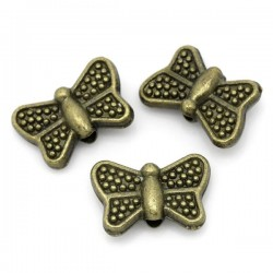 5 perles Intercalaires papillon couleur bronze