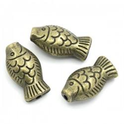 Perle métal poisson bronze