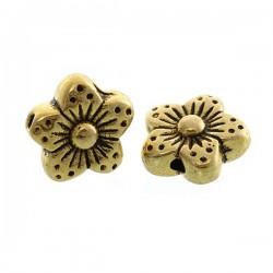 Perle métal forme fleur or antique 9 x 9, entretoise