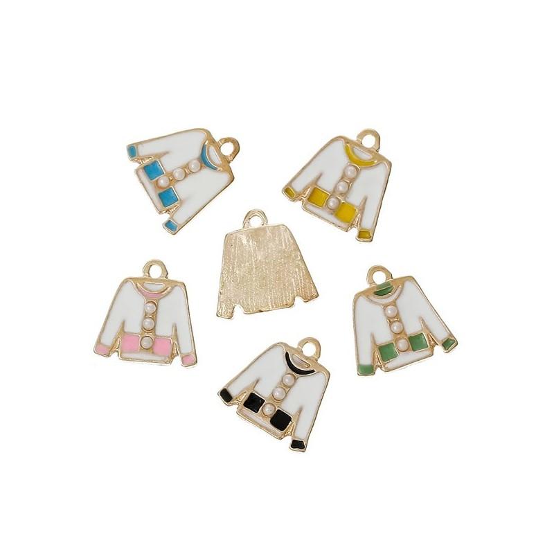 Breloque veste émaillée et perle