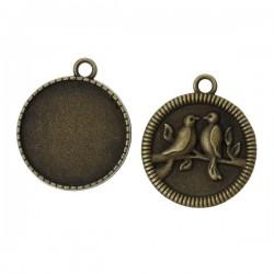 Support de cabochon verso décor oiseaux couleur bronze