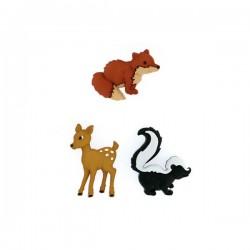 3 boutons animaux de la forêt