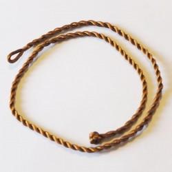 Cordon de soie tressé marron/rouille