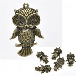 Chouette hibou pendentif métal ajouré bronze
