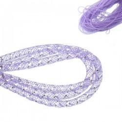 Cordon tubulaire résille violet et argent 4 mm