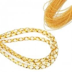 Cordon tubulaire résille jaune et or 4 mm