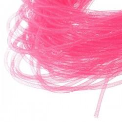 Cordon tubulaire résille rose 4 mm