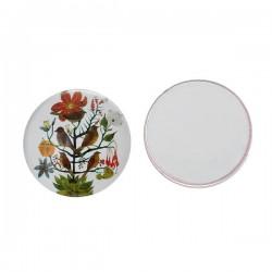 Cabochon rond décor fleurs et oiseaux 20 mm