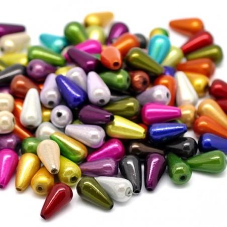 20 perles goutte d'eau tons magiques