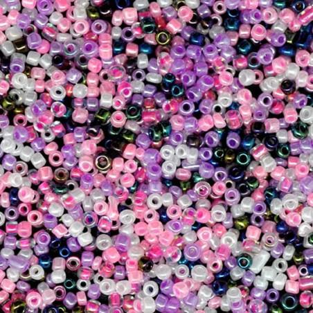 Perle de rocaille verre mélange rose, blanc, bleu nuit 10/0 (2 x 2 mm)