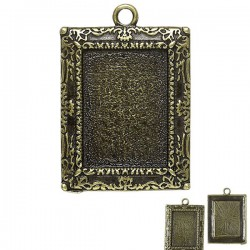 Support de cabochon rectangulaire bronze