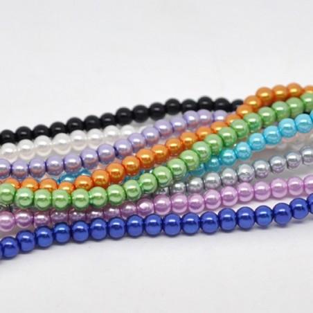 40 Perles verre 4 mm 10 couleurs au choix