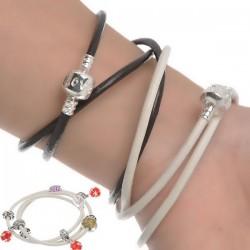 Bracelet charm europeen cuir 3 tours