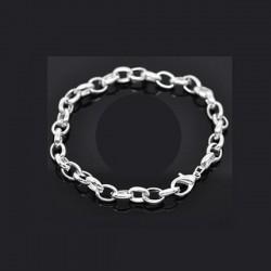 Bracelet charm maille forçat métal argenté longueur 19 cm