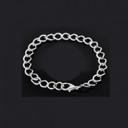 Bracelet charm maille cheval métal argenté longueur 21 cm