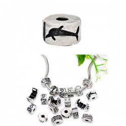 Fermoir clip pour bracelet style Pandora coeur