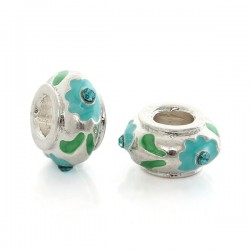 Perle Style Pandora (bijou Européen) avec strass bleu, plaqué argent