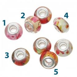 Perle Style Pandora fleurs noyau argent et résine