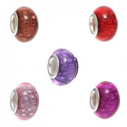 Perle résine de style Pandora noyau argent différentes couleurs