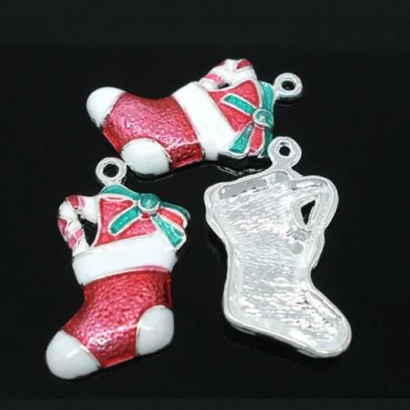 Botte de Noël  émaillé rouge et blanc