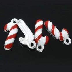 Canne de Noël émaillé rouge et blanc