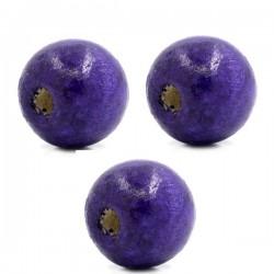 3 Perles boule bois violet vernis 20x18 mm