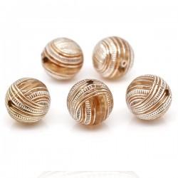 5 perles intercalaires café 16 mm