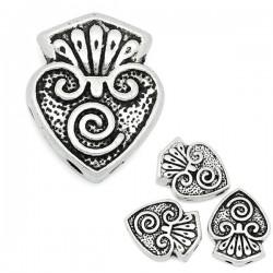 Perle métal décor coeur 2 trous
