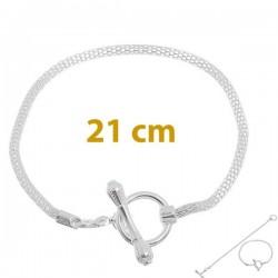 Style pandora Bracelet charm 21 cm argenté  (bijoux européen)