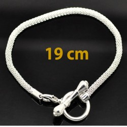 Style pandora Bracelet charm 19 cm argenté  (bijoux européen)