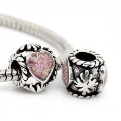 Perle métal avec stras scoeur rose style Pandora