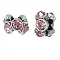 Perle métal avec strass rose style Pandora
