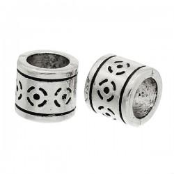 Style Pandora perle colonne sculpté argent