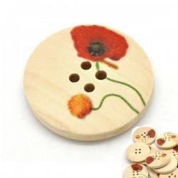 3 boutons bois décor coquelicot 4 trous 30 mm