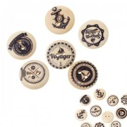 5 boutons bois décor marine 18 mm, 2 trous