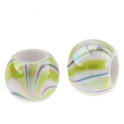 Perle tonneau vert/blanc rayé style Pandora