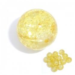 Perle jaune craquelée 12 mm en verre