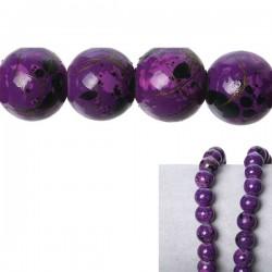 10 perles verre violet tacheté noir 8 mm