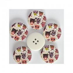 4 boutons 3 cm bois décor de chouette