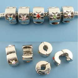 Fermoir stoppeur clip pour bracelet style Pandora soleil à strass