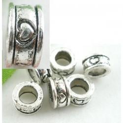 perle intercalaire anneau sculpté coeur